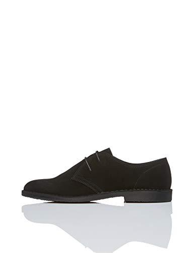 find. Suede Zapatos de Cordones Derby, Negro (Black), 41 EU