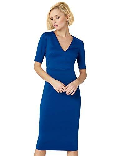 Marca Amazon - TRUTH & FABLE Vestido Midi Ajustado Mujer, Azul (Blue), 38, Label: S