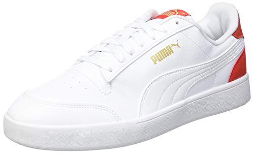 PUMA Shuffle, Zapatillas Unisex Adulto, Blanco White White-Poppy Red, 44 EU