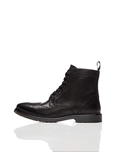 find. Leather Cleated Brogue Botas Estilo Motero, Negro Black, 44 EU