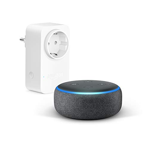 Echo Dot (3.ª generación), Tela de color antracita + Amazon Smart Plug (enchufe...