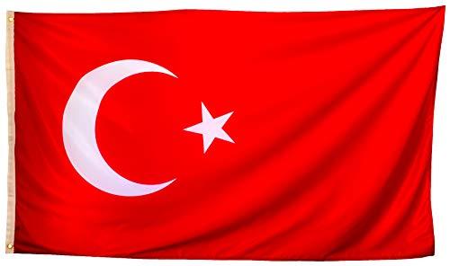 esvendio Bandera de Turquía Grande de Tela Fuerte, Bandera Turca para Exterior...