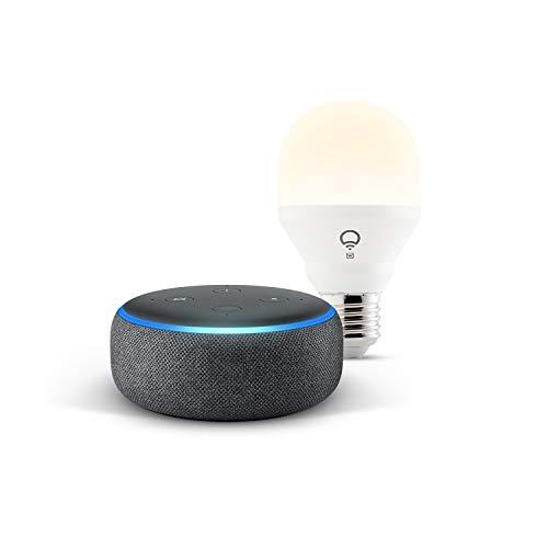Echo Dot (3.ª generación), tela de color antracita + bombilla inteligente LIFX...