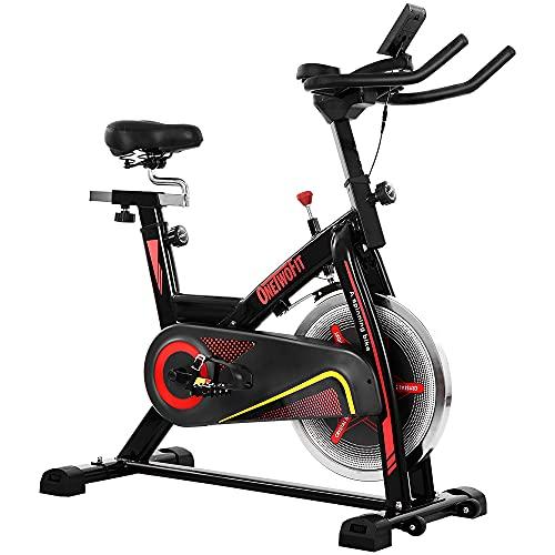 ONETWOFIT Bicicleta Estática, Volante Inercia 15 kg, Bicicleta de ciclo silenciosa...