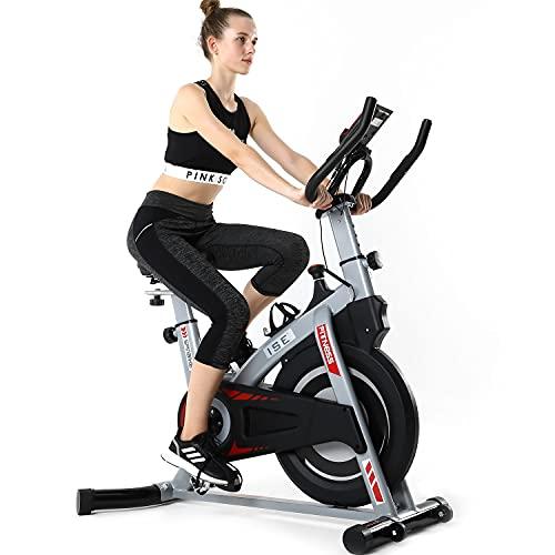 ISE Bicicleta Estática de Interior con Resistencia Ajustable, Peso de Inercia de 8KG...