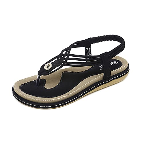 Sandalias para Mujer Sandalias de Playa de Verano Zapatos Bohemios Planas Tiras en T...