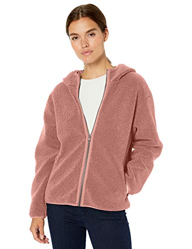 Daily Ritual Teddy Bear Hooded Zip Jacket Outerwear-Jackets, Dusty Rose, US L (EU L -...