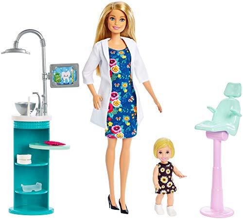 Barbie Quiero Ser Dentista muñeca con muñeca bebé y accesorios, regalo para niñas...