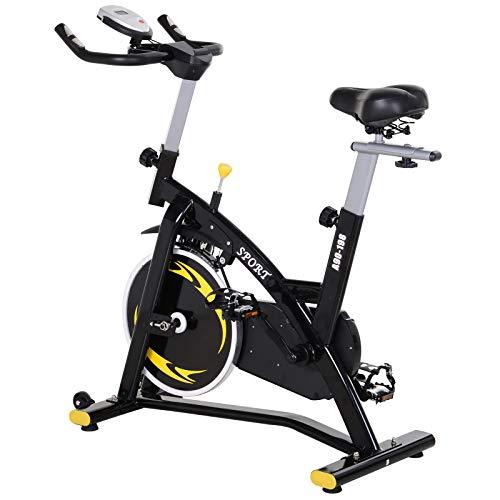 HOMCOM Bicicleta Estática Profesional Bicicleta Fitness con Pantalla LCD Asiento e...
