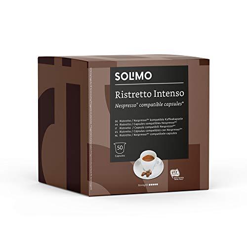 Marca Amazon - Solimo Cápsulas Ristretto Intenso, compatibles con Nespresso - 100...