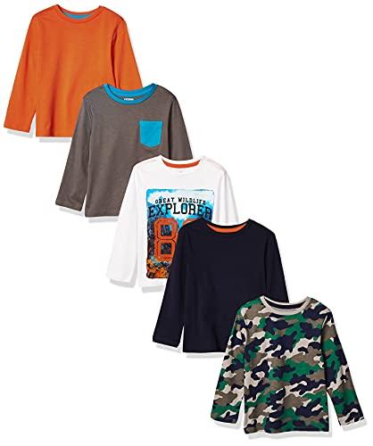 Marca Amazon - Spotted Zebra - Pack de 5 camisetas de manga larga para niño,...