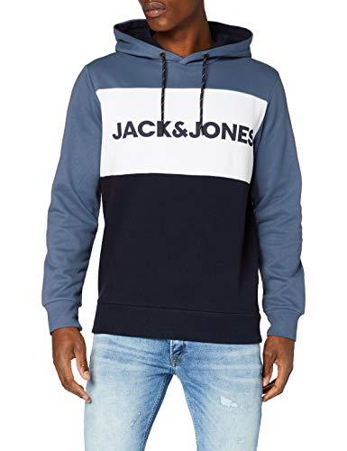 JACK & JONES JJELOGO Blocking Sweat Hood STS Sudadera con capucha, Azul (China Blue),...