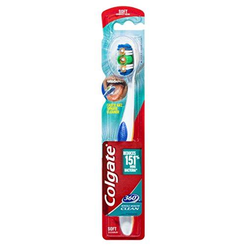 Colgate 360, Cepillo de dientes, Suave, limpiador de lengua y mejillas - 1 ud
