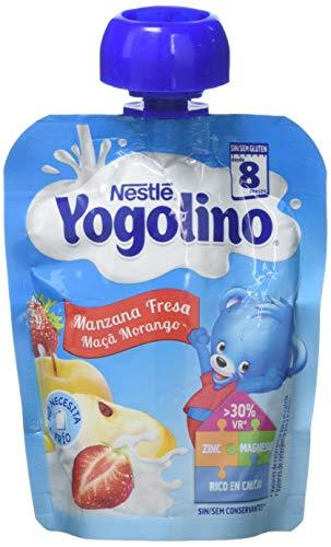 Nestlé iogolino - Bolsitas de Manzana y Fresa - A Partir de 8 Meses - Pack de 6 x 90...
