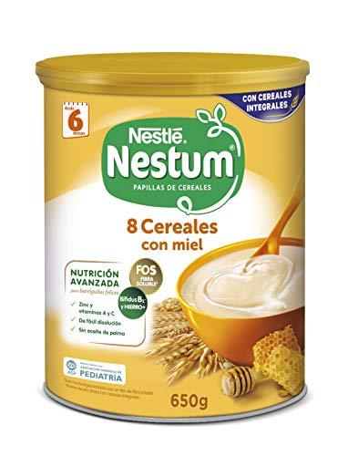 Nestlé Papillas NESTUM - Cereales para bebé, 8 cereales con miel - 3 x 650 g...