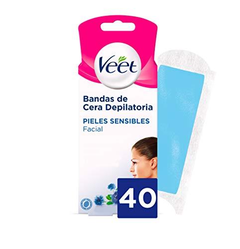 Veet Bandas de Cera Fria Depilatoria para Depilación Facial Adecuado para Labio...