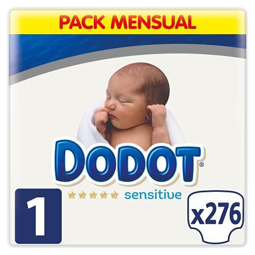 Dodot Pañales Bebé Sensitive Talla 1 (2-5 kg), 276 Pañales, Óptima Protección de...