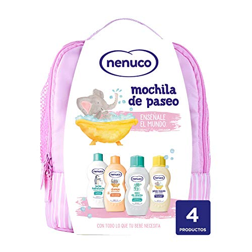 Nenuco Pack Bebé Mochila de Paseo color rosa, contiene colonia, jabón, champú y...