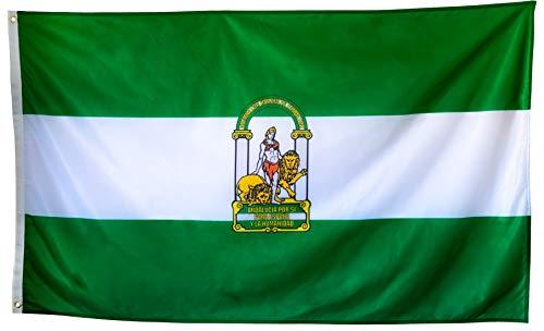 esvendio Bandera de Andalucía Grande de Tela Fuerte, Bandera Andaluza para Exterior...