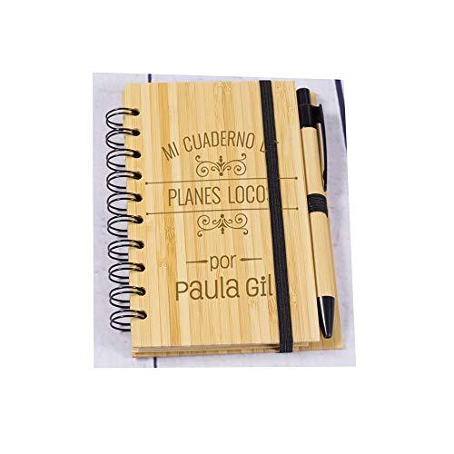 Regalo personalizado: divertido bloc de notas de madera grabado con nombre y apellido