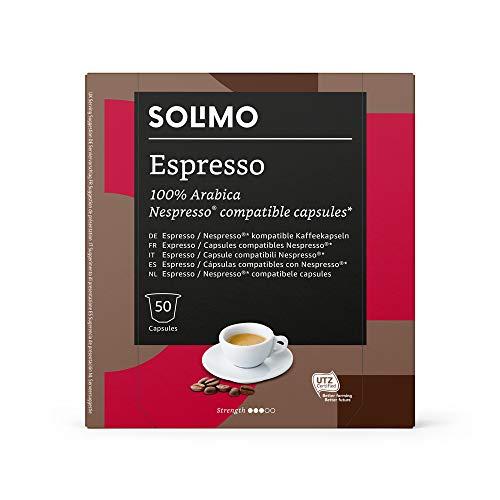 Marca Amazon - Solimo Cápsulas Espresso, compatibles con Nespresso* - café...