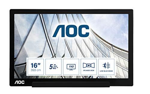 AOC Monitor I1601FWUX - 16' Full HD, 60 Hz, IPS, Low Blue Light, 1920x1080, 220 cd/m