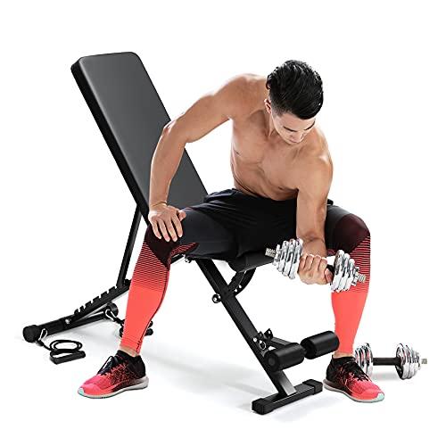 Banco para sentarse, taburete plegable, banco de pesas ajustable con cordón, peso...