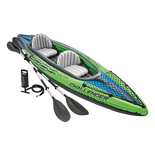 Intex Pack Kayak Doble Hinchable Challenger K2 + 2 Chalecos Ayuda a la Flotación...