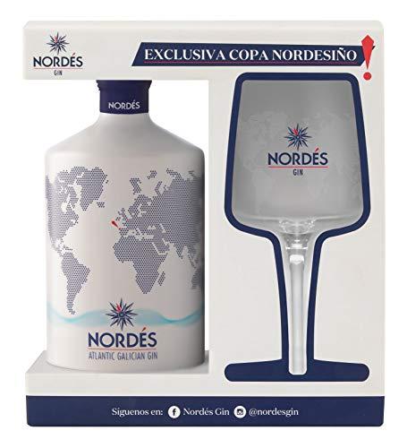 Ginebra Premium nacional Nordés - Estuche 1 botella de ginebra Nordés + con copa...