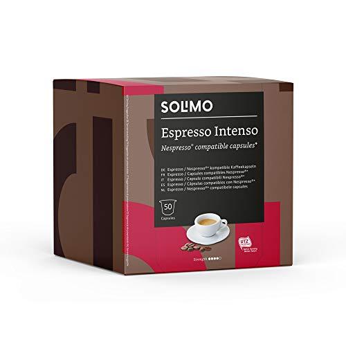 Marca Amazon - Solimo Cápsulas Espresso Intenso, compatibles con Nespresso - 100...