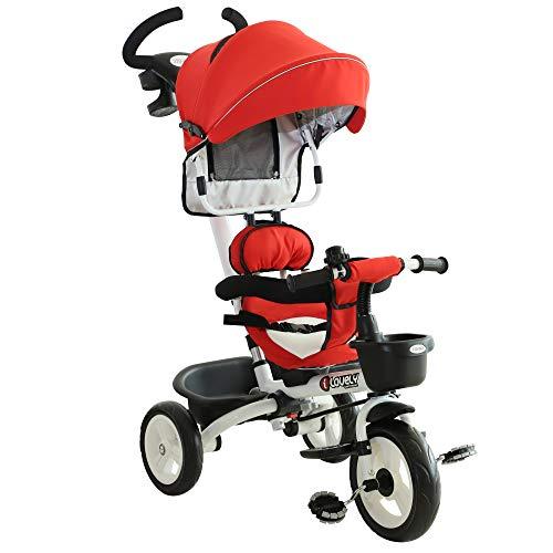 HOMCOM Triciclo Bebé Plegable 4 en 1 Trolley Trike Bicicletas para Niños +18 Mes...