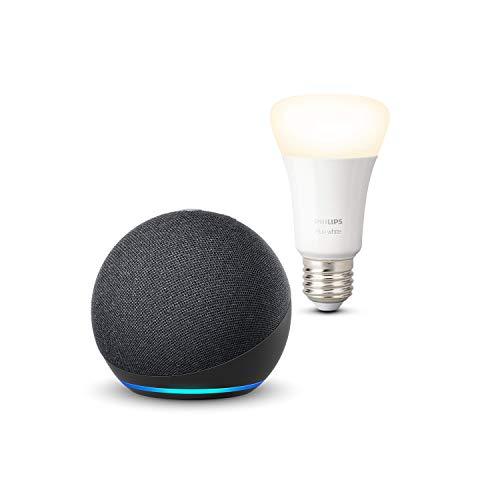 Nuevo Echo Dot (4.ª generación), Antracita + Philips Hue Bombilla Inteligente...