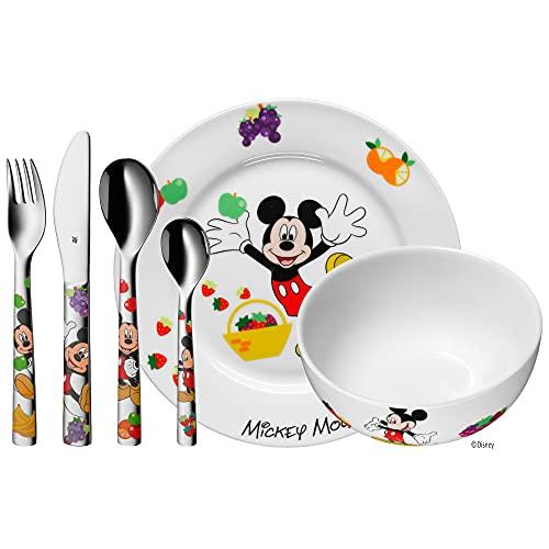 WMF Disney Mickey Mouse - Vajilla para niños 6 piezas, incluye plato, cuenco y...