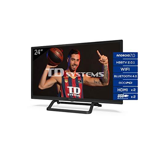 "TD Systems K24Dlx11Hs - Televisor 24"", Android 7.0 y Hbbtv, 800 Pci Hz, 2X Hdmi, 2X..."