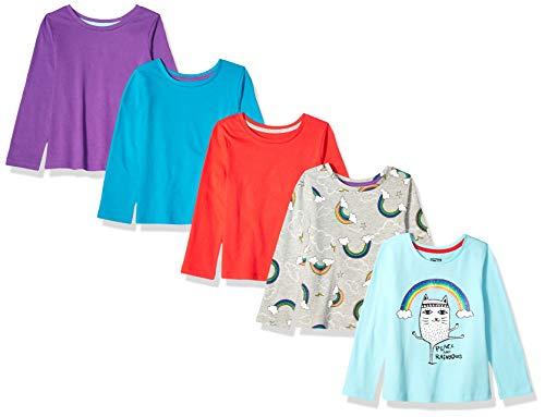 Spotted Zebra Long-Sleeve T-Shirts Camiseta, Paz y arcoíris, 6-7 años, Pack de 5