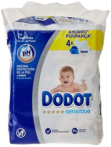 Dodot Toallitas para Bebé Sensitive - Paquete de 4 x 54 Toallitas - Total: 216...
