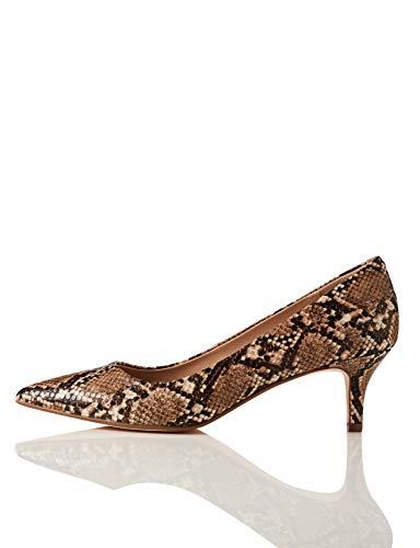 find. Point Toe Court Shoe Zapatos de tacón con Punta Cerrada, Braun Brown Snake, 37...