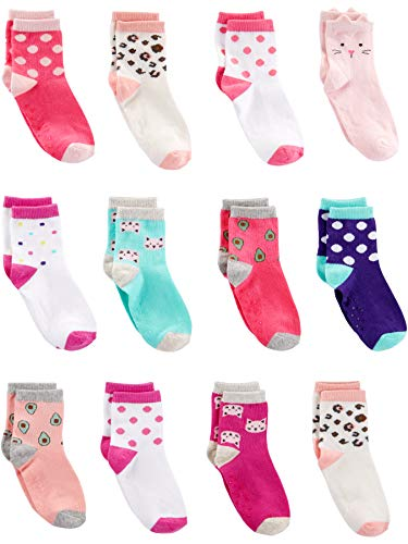 Simple Joys by Carter's 12-Pack Sock Crew Casual-Socks, Cats, 2 3 años