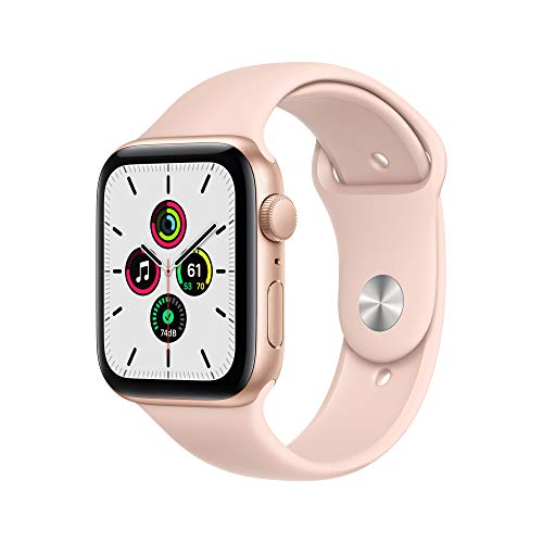 AppleWatch SE (GPS, 44 mm) Caja de aluminio en oro - Correa deportiva rosa arena