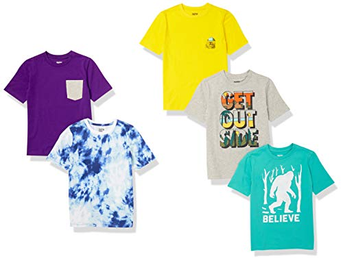 Spotted Zebra Short-Sleeve T-Shirts Camiseta, Pack Get Outside, 11-12 años, 5