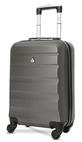 Aerolite ABS Maleta Equipaje de mano cabina rígida ligera con 4 ruedas, 55cm, Gris...