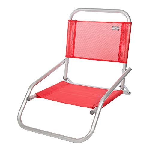 Aktive 53969 Silla plegable fija aluminio Beach, 66 x 47 x 54 cm Rojo