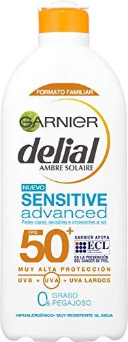 Garnier Delial Sensitive Advanced Leche Solar para Pieles Claras, Sensibles e...
