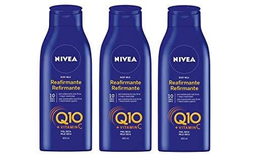 NIVEA Q10 Body Milk Reafirmante en pack de 3 (3 x 400 ml), loción corporal...