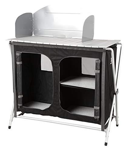 KitGarden - Armario Camping con Paraviento, 88x47x80 cm, Negro, Cabinet BBQ