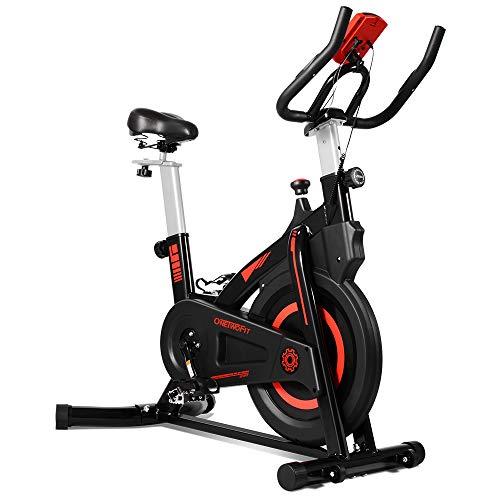 ONETWOFIT Bicicleta estática de Interior con Monitor, Asiento Ajustable y manillares...