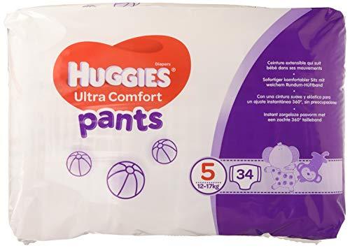 Huggies Ultra Comfort Pañal Braguita Talla 5 (12-17 kg) -  Pack de 2 x 34 unidades...