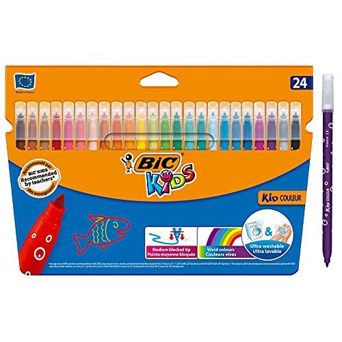 BIC Kids Rotuladores Lavables para Niños, Kid Couleur, Colores Surtidos, Punta Media...