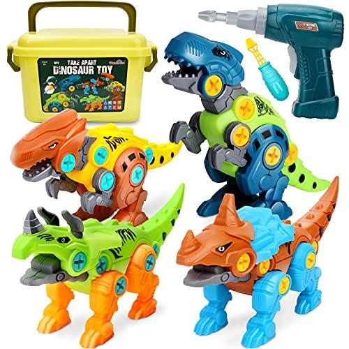 Dreamon Dinosaurios Juguetes para Niños con Caja de Almacenamiento Taladro...