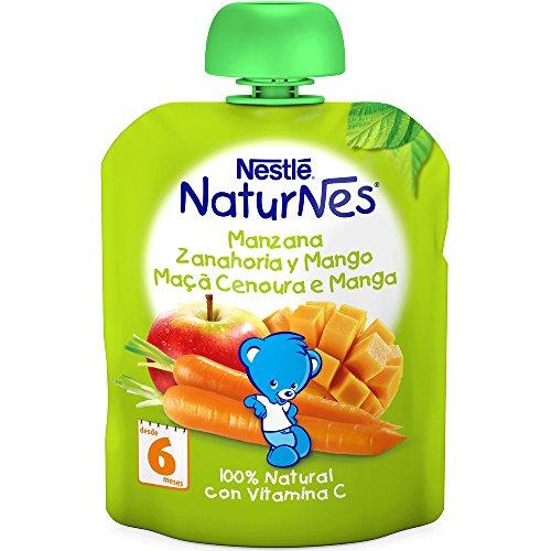 Nestlé Naturnes - Bolsitas de Manzana, Zanahoria y Mango - A Partir de 6 Meses -...